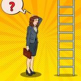 Bruit Art Doubtful Business Woman Looking à l'échelle Image libre de droits