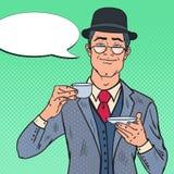 Bruit Art English Man Drinking Tea le matin Croissant doux et une cuvette de café à l'arrière-plan illustration libre de droits