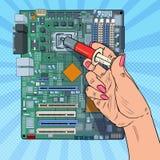 Bruit Art Female Hand d'unité centrale de traitement de Repairing d'ingénieur informaticien sur la carte mère Mise à jour du maté illustration libre de droits