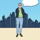 Bruit Art Handsome Man avec le microphone Journaliste masculin de TV illustration libre de droits