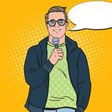 Bruit Art Handsome Man avec le microphone Journaliste masculin de TV illustration de vecteur