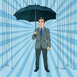 Bruit Art Happy Businessman avec le parapluie Image stock