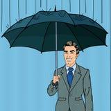 Bruit Art Happy Businessman Under la pluie avec le parapluie Photographie stock