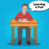 Bruit Art Happy Schoolboy Doing Homework réserve vieux d'isolement par éducation de concept illustration de vecteur