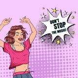 Bruit Art Happy Young Woman Dancing Fille enthousiaste d'adolescent Affiche de vintage de club de disco, bulle comique de la paro illustration libre de droits