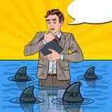 Bruit Art Helpless Businessman Swimming avec des requins Photos stock