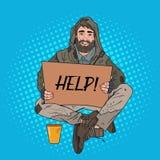 Bruit Art Homeless Man Le mendiant masculin avec le carton de signe demandent l'aide Concept de pauvreté illustration de vecteur