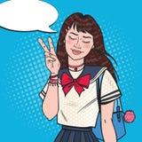 Bruit Art Japanese School Girl dans l'uniforme Étudiant adolescent asiatique avec le sac à dos illustration stock