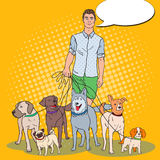 Bruit Art Man Dog Walker Illustration de Vecteur