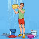 Bruit Art Man Holding Bucket et eau de rassemblement illustration de vecteur