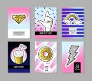 Bruit Art Retro Style Posters Set Bannières à la mode de mode avec des insignes et corrections pour des plaquettes, couvertures c Image stock