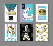 Bruit Art Retro Style Posters Set Bannières à la mode de mode avec des insignes et corrections pour des plaquettes, couvertures c Photo stock