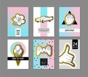 Bruit Art Retro Style Posters Set Bannières à la mode de mode avec des insignes et corrections pour des plaquettes, couvertures c Photographie stock