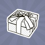 Bruit Art Retro Style Of Present de boîte-cadeau avec le ruban et arc sur Grey Dots Background Illustration Libre de Droits