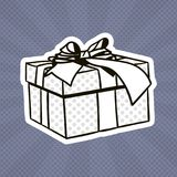 Bruit Art Retro Style Of Present de boîte-cadeau avec le ruban et arc sur Grey Dots Background Illustration Stock