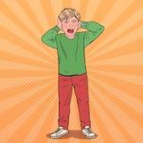 Bruit Art Screaming Boy Tearing ses cheveux gosse agressif Expression du visage émotive d'enfant illustration stock