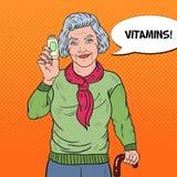 Bruit Art Senior Happy Woman avec des pilules Soins de santé Illustration de Vecteur