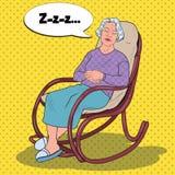Bruit Art Senior Woman Sleeping dans la chaise Grand-mère se reposant dans le fauteuil Illustration Stock