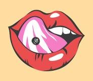Bruit Art Sexy Lips With Piercing Objet de vecteur Photo libre de droits