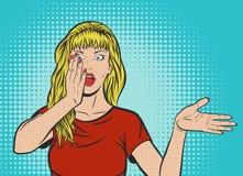 Bruit Art Shocked Woman dans le T-shirt rouge Images libres de droits