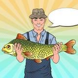 Bruit Art Smiling Fisherman avec de grands poissons Bon loquet illustration libre de droits
