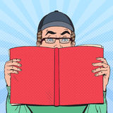 Bruit Art Surprised Man Reading Book Concept éducatif Images libres de droits