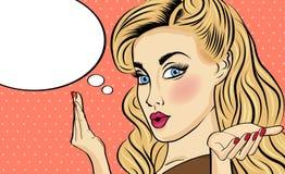 Bruit Art Woman Femme comique avec la bulle de la parole Photographie stock