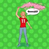 Bruit Art Woman Soccer Fan Celebrating la victoire de l'équipe préférée Voyous du football Images stock