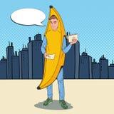 Bruit Art Young Male Promoter avec des insectes de publicité Homme dans le costume de banane Guy Promoting Something gai adolesce illustration libre de droits
