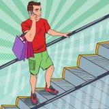 Bruit Art Young Man avec des paniers sur l'escalator Homme avec le smartphone illustration libre de droits