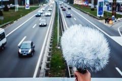 Bruit de route d'enregistrement d'ingénieur du son image libre de droits