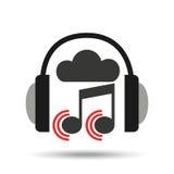 Bruit en ligne de note d'écouteur de nuage de musique Image stock