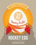 Bruit heureux Art Vector Illustration de Pâques avec l'oeuf de pâques comme fusée et police Photographie stock libre de droits