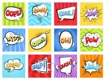 Bruits comiques La bande dessinée éclater les cadres dépouillés d'éclat et les bulles de la parole avec des mots grondent rétro c illustration de vecteur
