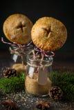 Bruits délicieux de tarte aux pommes, fond foncé, photographie stock