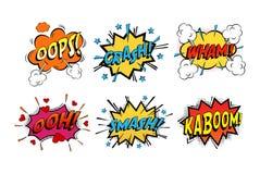 Bruits de bandes dessinées d'onomatopée en nuages pour des émotions Photographie stock