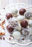 Bruits de gâteau décorés du chocolat et de la noix de coco blancs et foncés sur la serviette, foyer sélectif de lumière naturelle images libres de droits