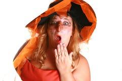 Bruja asustadiza de Víspera de Todos los Santos Foto de archivo libre de regalías