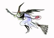 Bruja asustadiza del vuelo fondo de Halloween con la bruja en la escoba Aislado en blanco stock de ilustración