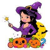 Bruja, calabazas e invitaciones de Halloween libre illustration