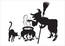 Bruja con el gato y la escoba stock de ilustración