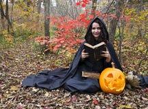 Bruja con el libro mágico 3 Fotos de archivo libres de regalías
