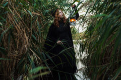 Bruja con la luz en un pantano Foto de archivo