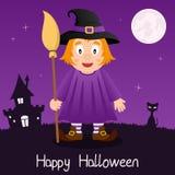 Bruja con la tarjeta del feliz Halloween de la escoba Imagen de archivo