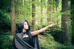 Bruja con la vara Foto de archivo