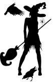 Bruja con los cuervos y otros elementos de Víspera de Todos los Santos stock de ilustración