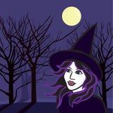 Bruja con los fantasmas, ejemplo del vector de Halloween Foto de archivo libre de regalías