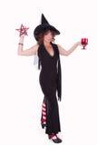 Bruja con los símbolos de Wicca Imágenes de archivo libres de regalías