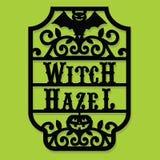 Bruja cortada de papel Hazel Vintage Frame Label de Halloween de la silueta ilustración del vector