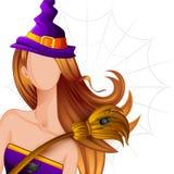 Bruja de Halloween con el palo de escoba libre illustration